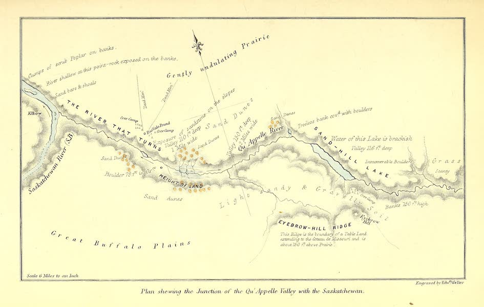 Narrative of the Canadian Red River Exploring Expedition Vol. 1 - Plan Shewing the Junction of the Quappelle Valley with the Saskatchewan (1860)