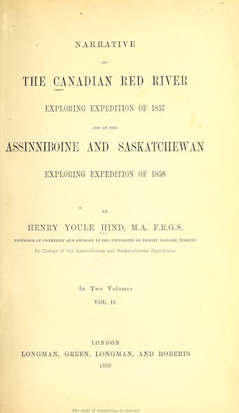 Narrative of the Canadian Red River Exploring Expedition Vol. 2 - Title Page (1860)
