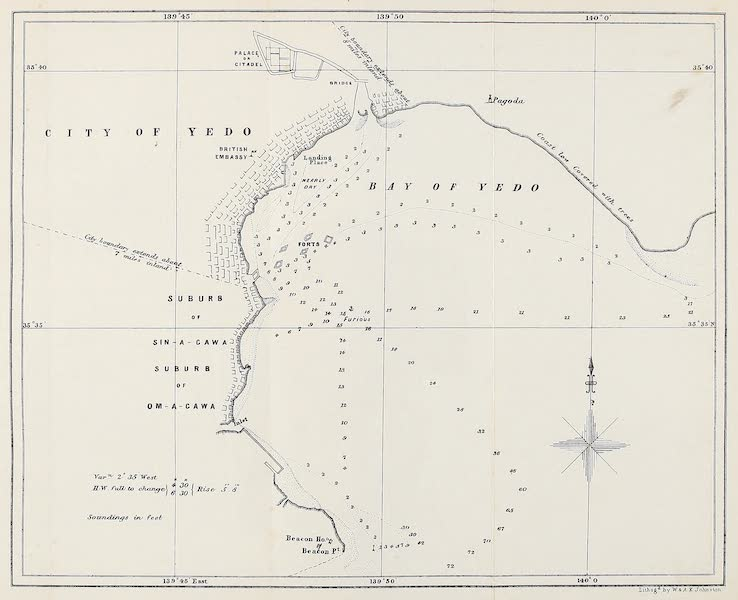 Narrative of the Earl of Elgin's Mission Vol. 2 - Map of the City of Yedo and Vicinity (1859)