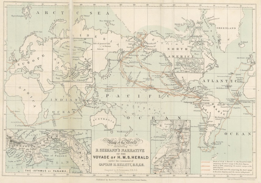 Narrative of the Voyage of H.M.S. Herald Vol. 1 - Map of the World Illustrating B. Seeman's Narrative of the Voyage of H.M.S Herald (1853)