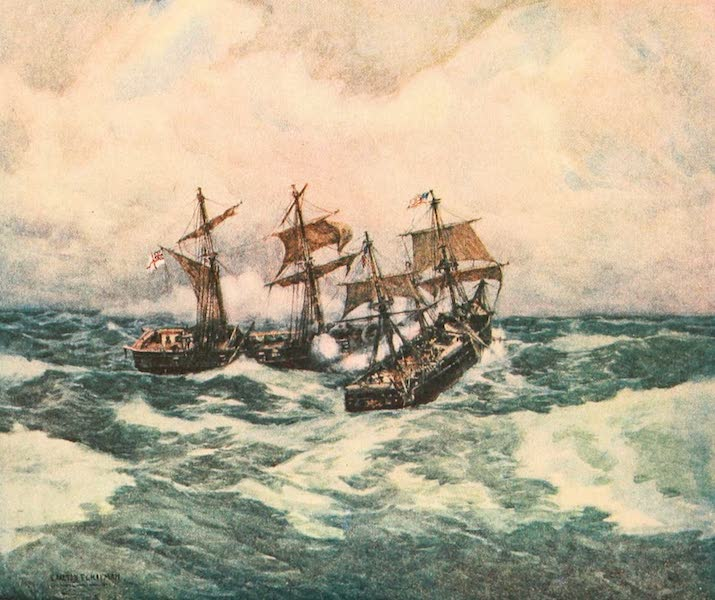 """Naval Actions of the War of 1812 - The """"Wasp"""" Raking the """"Frolic"""" (1896)"""