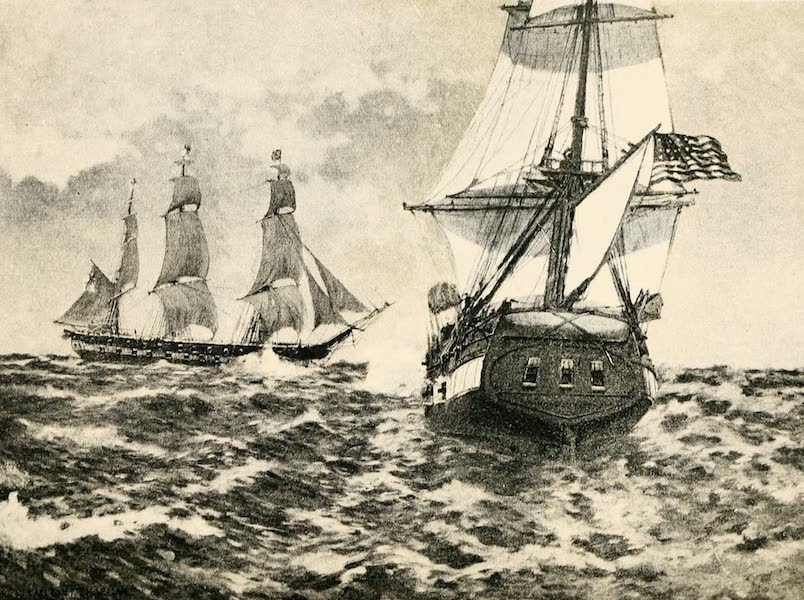 """Naval Actions of the War of 1812 - The """"Macedonian"""" Crossing the Bows of the """"United States"""" (1896)"""