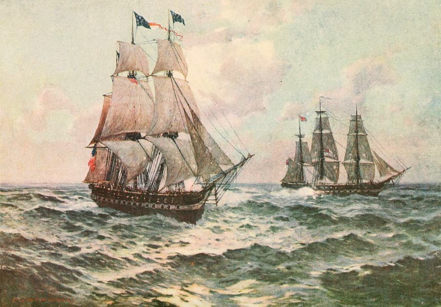 """Naval Actions of the War of 1812 - The """"Constitution"""" Beginning the Action (1896)"""