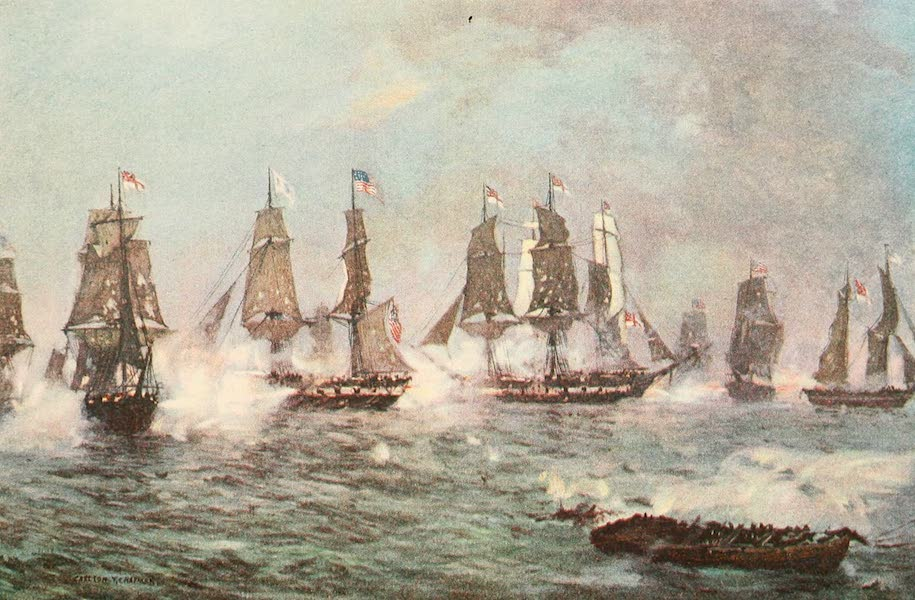 """Naval Actions of the War of 1812 - The """"Niagara"""" Breaks the English Line (1896)"""