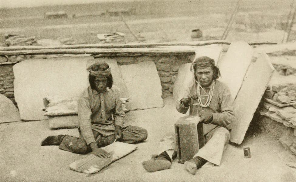 New Mexico, The Land of the Delight Makers - Zuni Dick and his Brother making shell bead necklaces (1920)