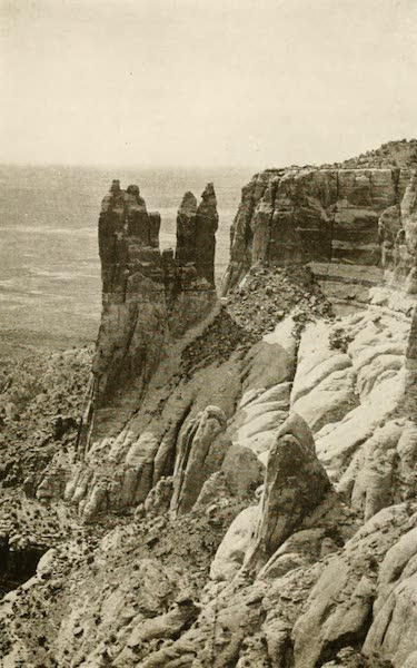 """New Mexico, The Land of the Delight Makers - The Pillars known as """"The Caique's Son and Daughter,"""" on Taiyoallane, near Zuni (1920)"""