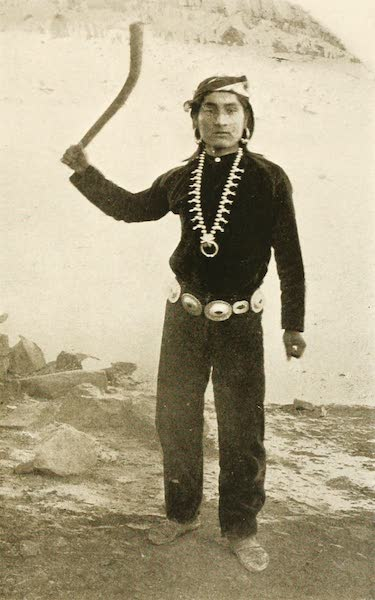 New Mexico, The Land of the Delight Makers - Pueblo Indian, with throwing stick, ready for a Rabbit Hunt (1920)