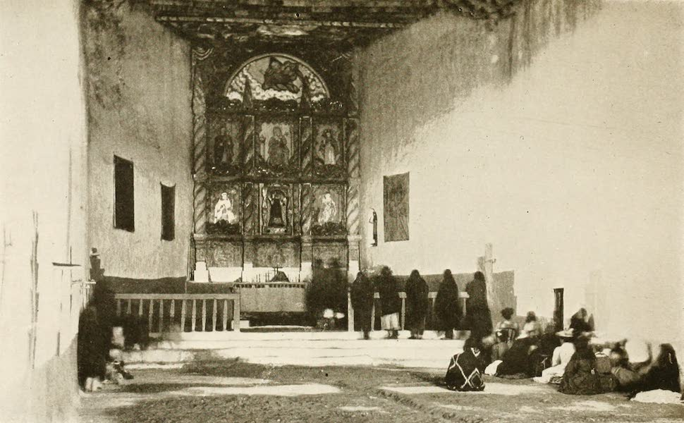 New Mexico, The Land of the Delight Makers - Interior of the Old Franciscan Mission at Acoma the Pueblo of Laguna (1920)