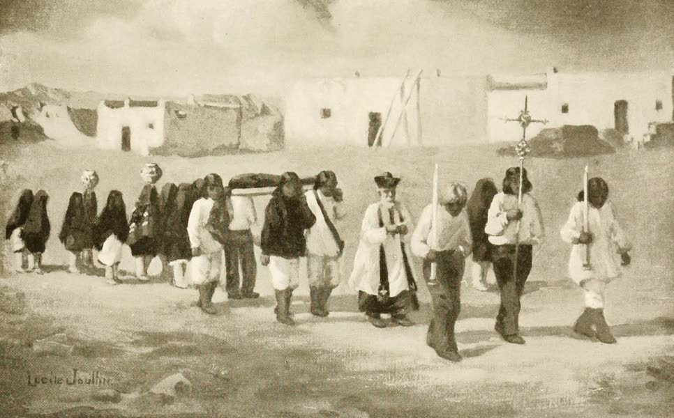 New Mexico, The Land of the Delight Makers - A Pueblo Indian Funeral Procession at Isleta (1920)