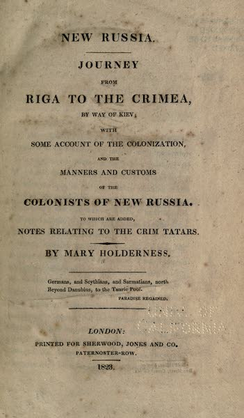 New Russia. Journey from Riga to the Crimea - Title Page (1823)