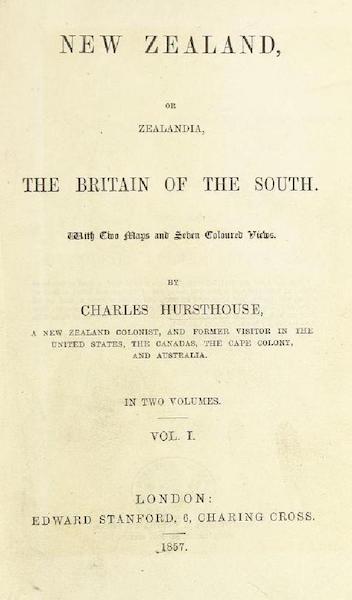 New Zealand; or Zealandia - Title Page - Volume 1 (1857)