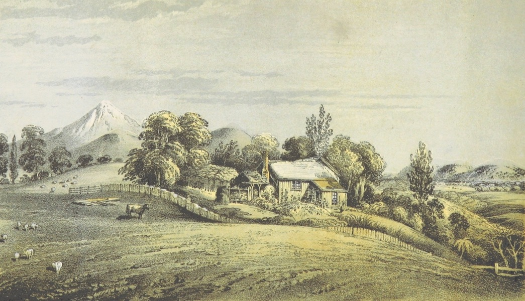 New Zealand; or Zealandia - Cottage of a Small Farmer, New Plymouth (1857)