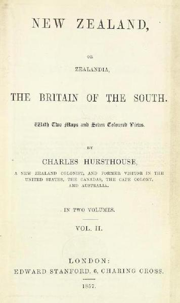 New Zealand; or Zealandia - Title Page - Volume 2 (1857)