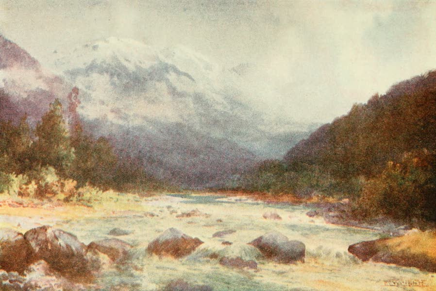 New Zealand, Painted and Described - On the Bealey River (1908)