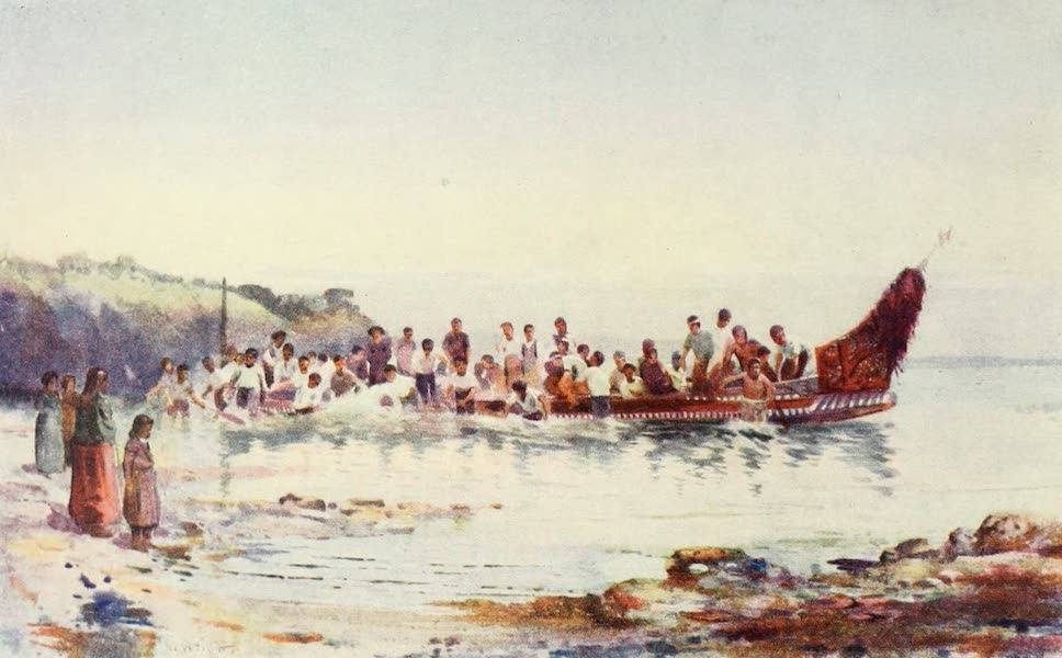 New Zealand, Painted and Described - The Return of the War Canoe (1908)