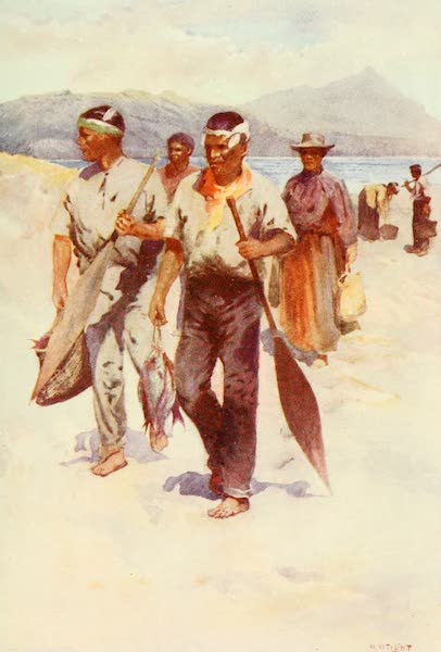 New Zealand, Painted and Described - Maori Fishing Party (1908)
