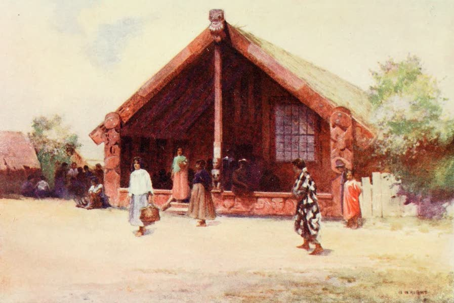 New Zealand, Painted and Described - Carved House, Ohinemutu (1908)