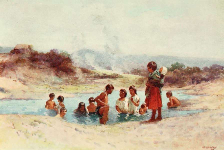 New Zealand, Painted and Described - In a Hot Pool (1908)