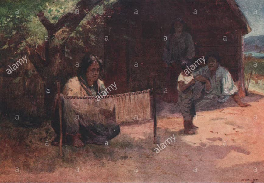 New Zealand, Painted and Described - Weaving the Kaitaka (1908)
