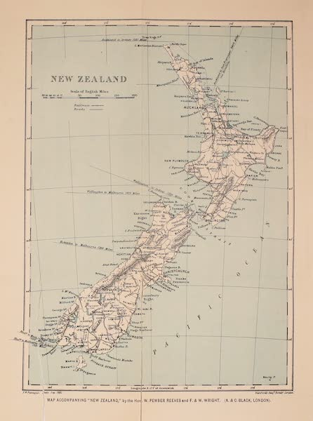 New Zealand, Painted and Described - Map of New Zealand (1908)
