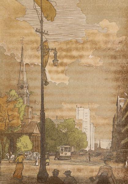 Newark; a Series of Engravings on Wood - Broad Street at Military Park (1917)