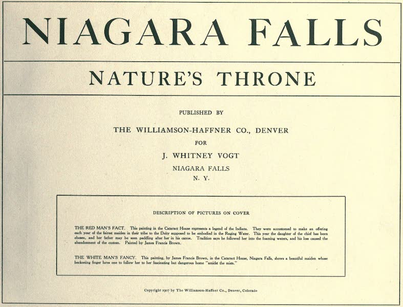 Niagara Falls, Nature's Throne - Title Page (1907)