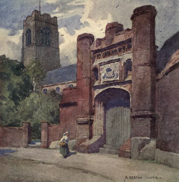 Norfolk and Suffolk Painted and Described - Wolsey's Gateway, Ipswich, Suffolk. (1921)
