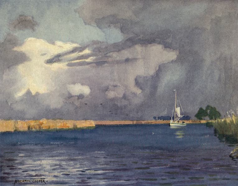 Norfolk and Suffolk Painted and Described - Heigham Sounds, Norfolk - Thunder Clouds (1921)