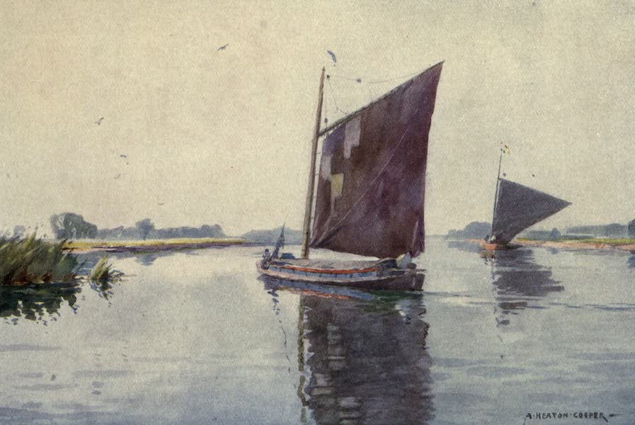 Norfolk and Suffolk Painted and Described - Wherries on the Waveney, Suffolk (1921)