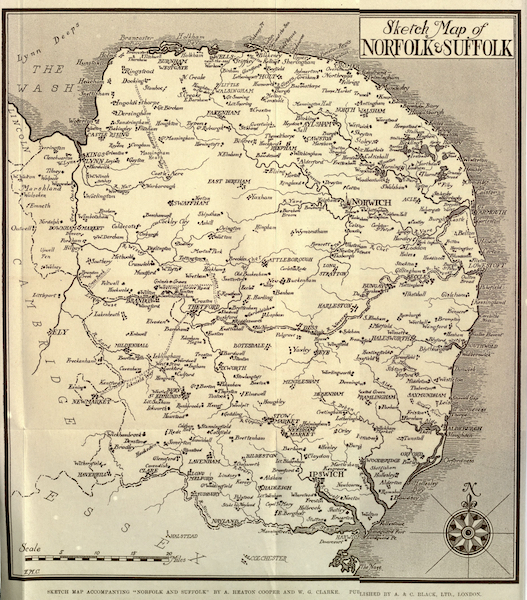 Norfolk and Suffolk Painted and Described - Sketch Map of Norfolk and Suffolk (1921)