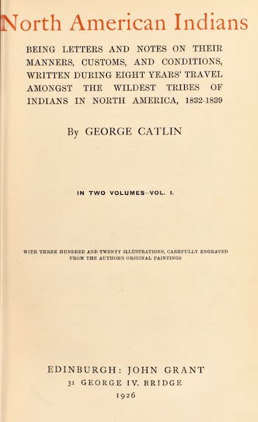 North American Indians Vol. 1 - Title Page (1926)