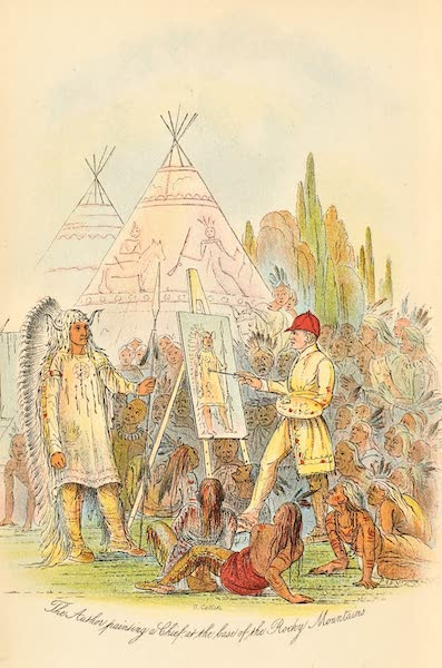 Frontispiece - The Author Painting a Chief in an Indian Village