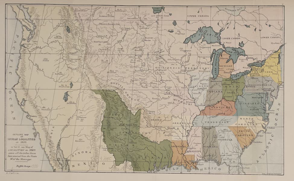 North American Indians Vol. 1 - Outline Map of the Indian Localities in 1833 (1926)