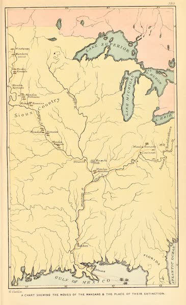 North American Indians Vol. 2 - A Chart Shewing the Moves of the Mandan and the Place of Their Extinction (1926)