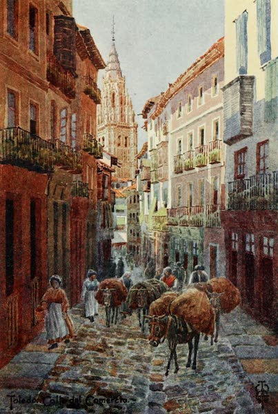 Northern Spain, Painted and Described - Toledo. Calle del Comercio, with the Cathedral Tower (1906)