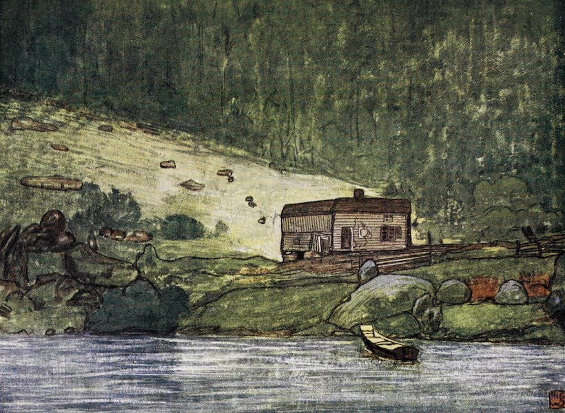 Norway, Painted and Described - A Little Farm on the Riverside at Gjora (1905)