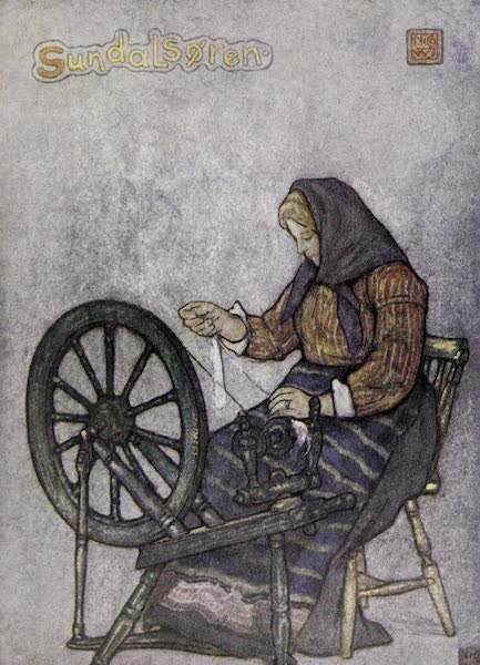 Norway, Painted and Described - Woman Spinning, Sundalsoren (1905)