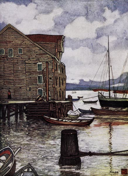 Norway, Painted and Described - Old Warehouse and Boats, Molde (1905)