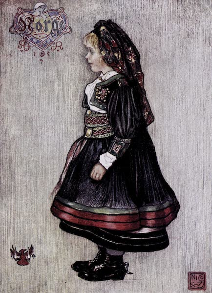 Norway, Painted and Described - Saetersdalen Girl in National Costume (1905)