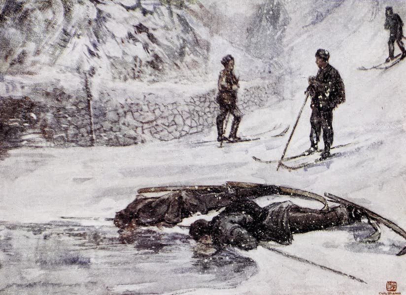 Norway, Painted and Described - Skiers drinking Goosewine (1905)