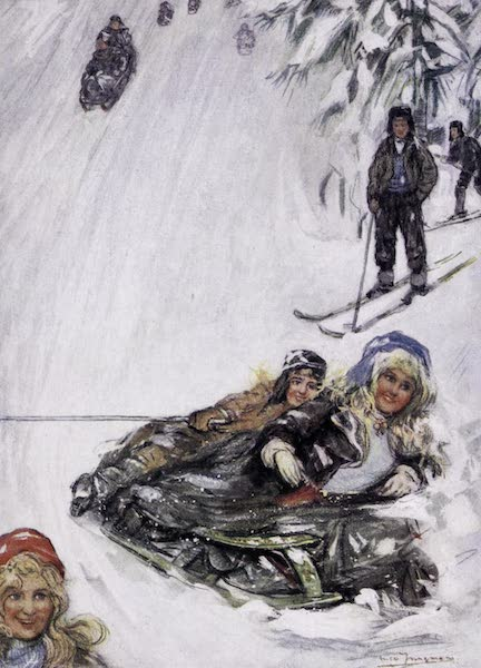 Norway, Painted and Described - Girls on Overturned Sledge, Holmencollen (1905)