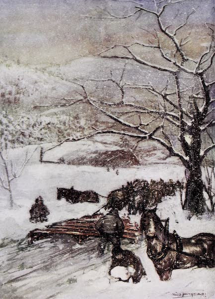Norway, Painted and Described - Snow Plough drawn by Eight or Ten Horses (1905)