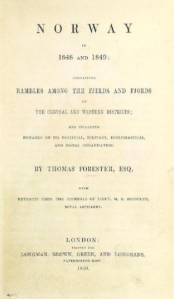 Norway in 1848 and 1849 - Title Page (1850)