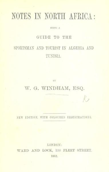Notes in North Africa - Title Page (1862)