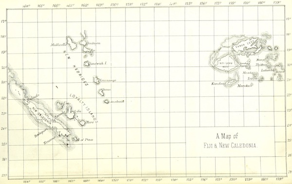 Notes of Travel in Fiji and New Caledonia - A Map of Fiji and New Caledonia (1880)
