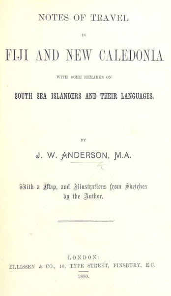 Notes of Travel in Fiji and New Caledonia - Title Page (1880)
