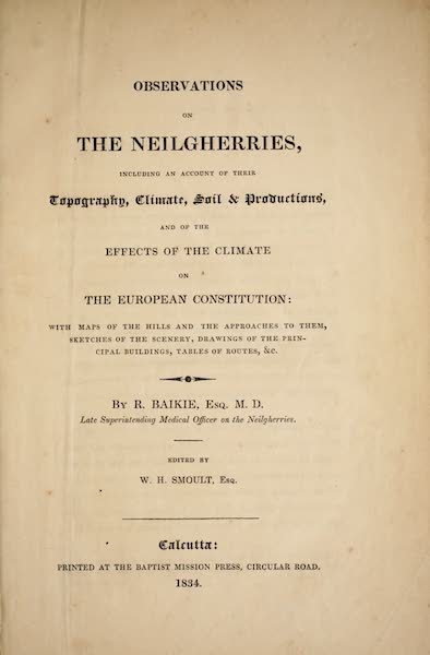 Observations on the Neilgherries - Title Page (1834)