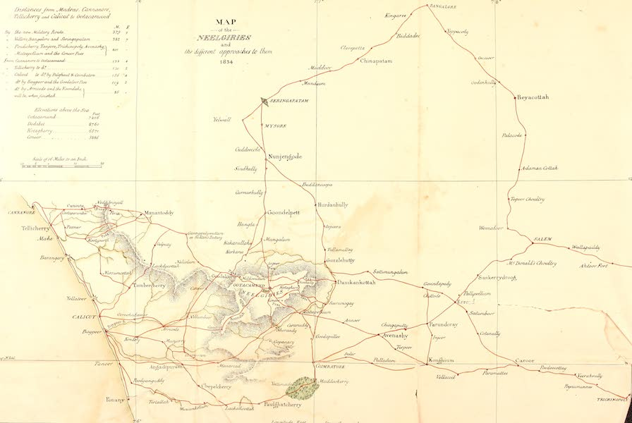 Observations on the Neilgherries - Map of the Neelgiries and the Different Approaches to Them [1834] (1834)