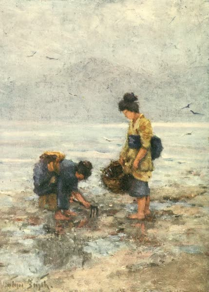 Old and New Japan - On the Shore of the Inland Sea the Fisher Women gather Shellfish (1907)