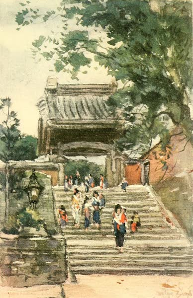 Old and New Japan - Up the grey, lichen-stained Steps to the Temple Gate (1907)